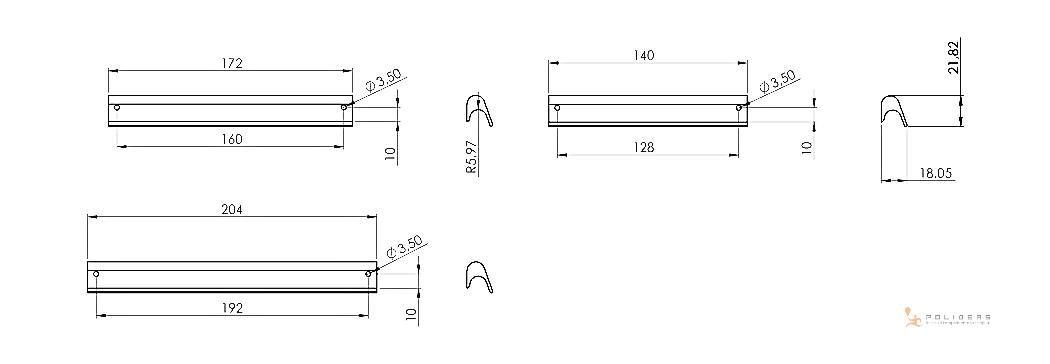 disegno maniglia mobile scheda tecnica